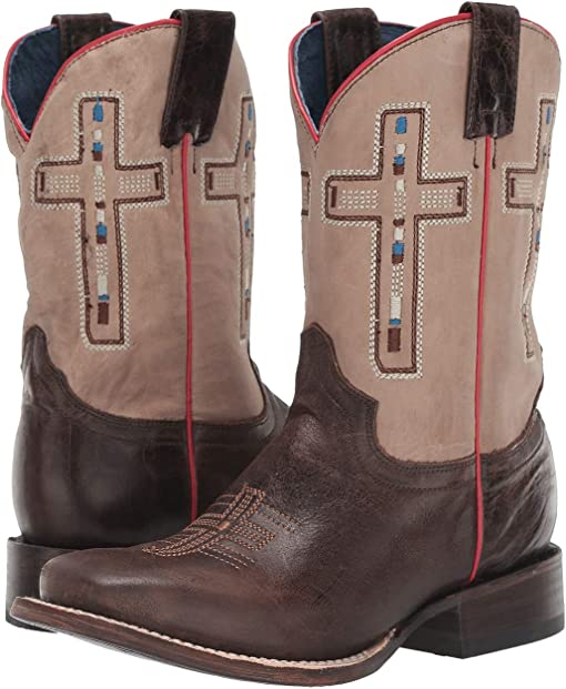 Oily Brown Leather Vamp/Tan Shaft/Cross Embroidery