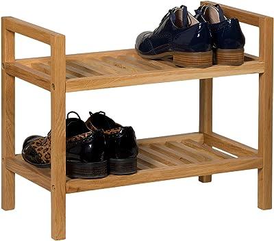 Zapatero de roble Waverly apilable para 4 pares de zapatos, organizador estrecho sólido de madera