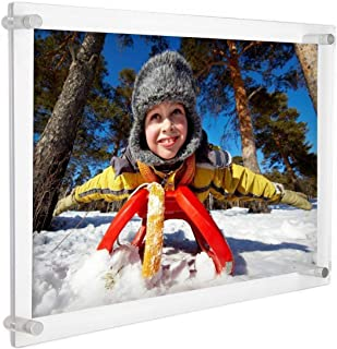 Cq acrylic 11x14 Clear Acrylic Wall Mount Floating Frameless Picture Frame for Degree Certificate Photo Frames,Double Sided Display Pack of 1