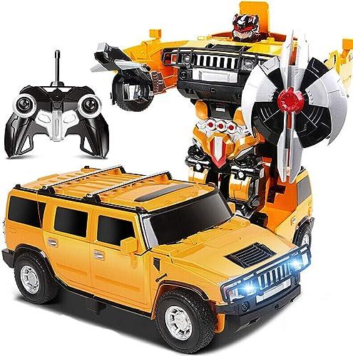 Kikioo Huummerr RC Transformation Robot Voiture Télécomhommede Action Action Déformation Figure One Touch Transformer Voiture Robots Modèles rougeation LED Lumière Voitures Jouet Pour Garçon Enfants Enfan