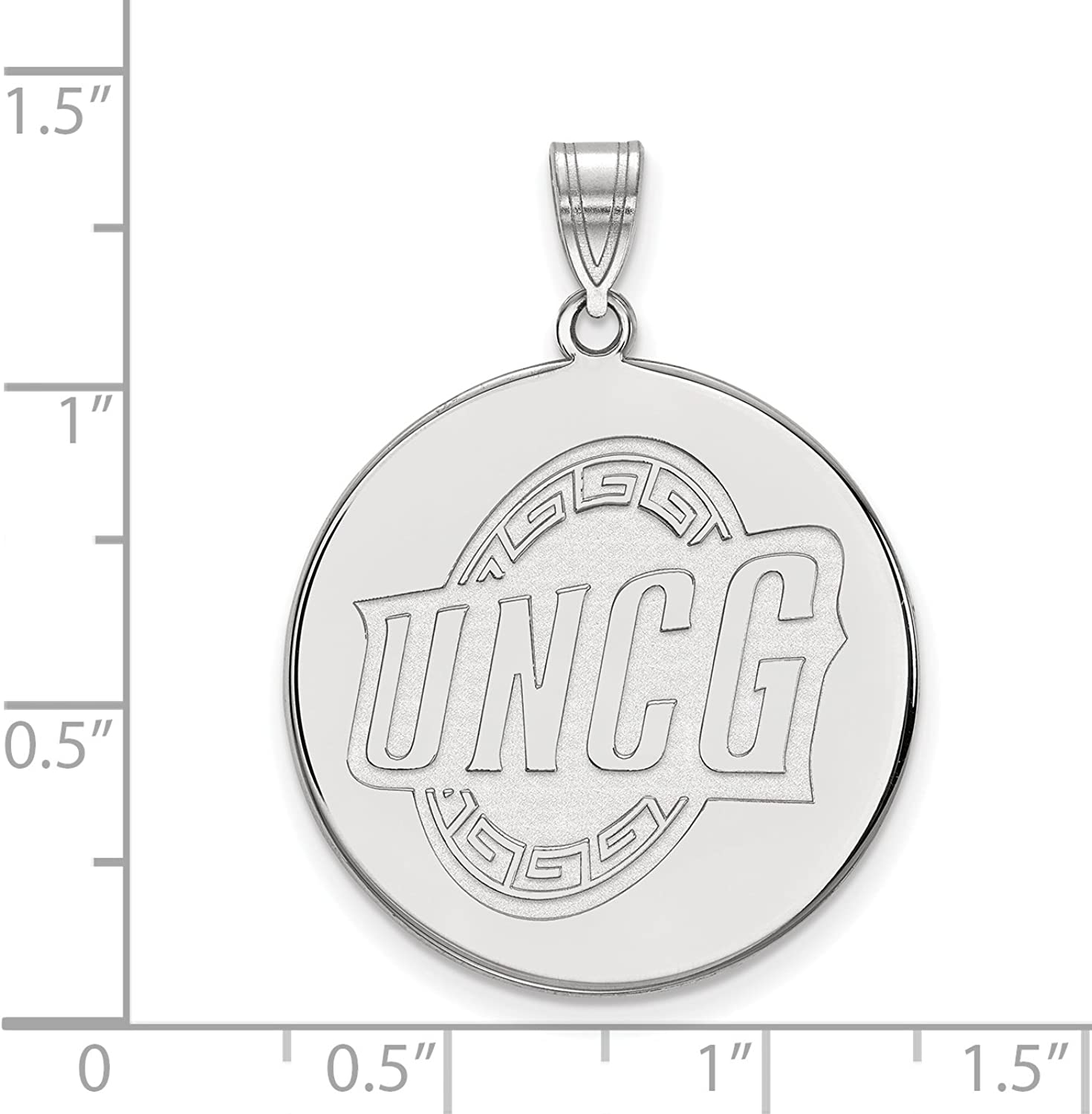 Sterling Silver LogoArt Official Licensed Collegiate University of North Carolina (UNCG) at Greensbgold XL Disc Pendant