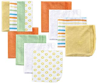 Luvable Friends Unisex Baby Cotton Rich Washcloths, Yellow, One Size