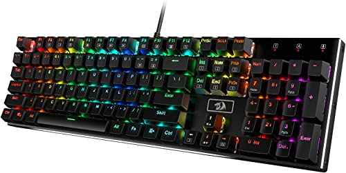 Redragon K556 RGB LED Backlit Wired Mechanical Gaming Keyboard, Aluminum Base, 104 Standard Key, Red Switches