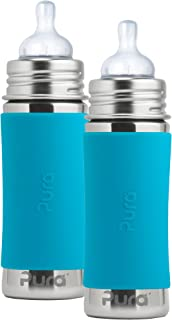 Pura Kiki Stainless Steel Infant Bottle with Aqua Silicone Sleeve, 11 Ounce, Set of 2