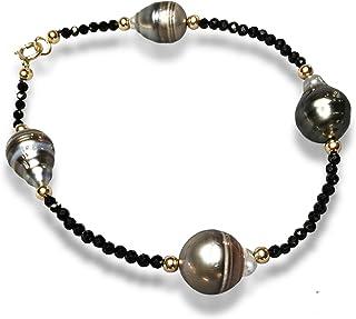 Unique handmade Turban shell and Tahitian Pearl Bracelet