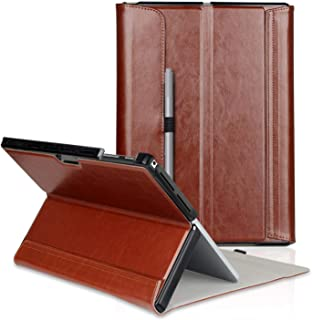 FIREDOG for Surface Pro 6 Case, Leather for Microsoft 12.3 Surface Pro 6 / Pro 2017(Pro 5) / Pro LTE/Pro 4 Tablet Cover Stand with Type Cover Keyboard (Brown)
