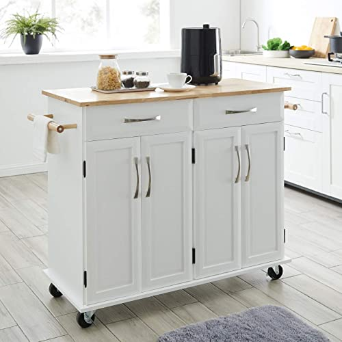 discount BELLEZE Modern Rolling Kitchen Island Utility new arrival Cart with Two Drawers, Storage Cabinets, Handle Towel Racks, Rubber Wood Top, and popular Caster Wheels - Baldy (White) online