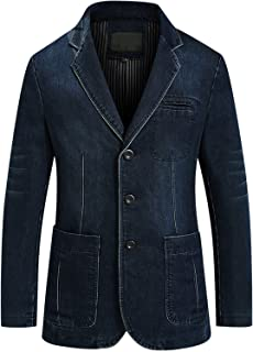 Men's Classic Notched Collar 3 Button Tailoring Distressed Denim Blazer Jacket