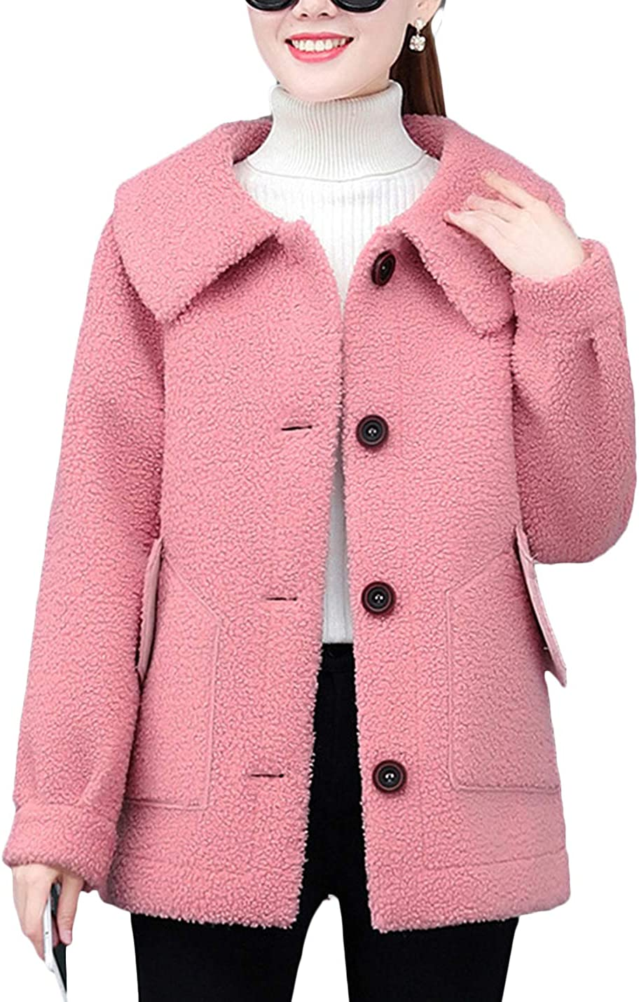 HaoMay Women's Loose Comfy Winter Discount mail order Outw Down Jacket Denver Mall Button Fleece