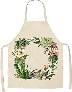 丸ぽい エプロン1ピース熱帯植物サボテンキッチンエプロン女性家庭料理ベーキングコーヒーショップ綿リネンクリーニングエプロン53 * 65センチMP0002,F