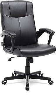 comprar comparacion SONGMICS OBG32B - Silla Giratoria de Oficina, PU Resistente, Ajustable en Altura, Diseño Ergonómico, Negro