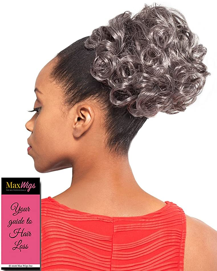 DS004 Ponytail Color 44 Charcoal Gray - Foxy Silver Wigs Drawstring Curly Hairpiece Dome Short Synthetic African American Womens Bundle with MaxWigs Hairloss Booklet