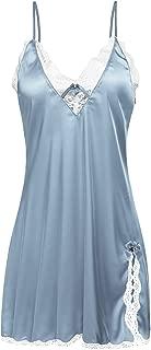 Sleepwear Satin Lace Chemise Nightgown Sexy Lingerie Silk Negligee Sling Nightshirt Night Slips for Women XS-XXL