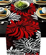 Floral Table Runner-Red Black White Cotton linen-Small 36 inche Dresser Scarves,Flower Tablerunner for Kitchen Coffee/Dini...