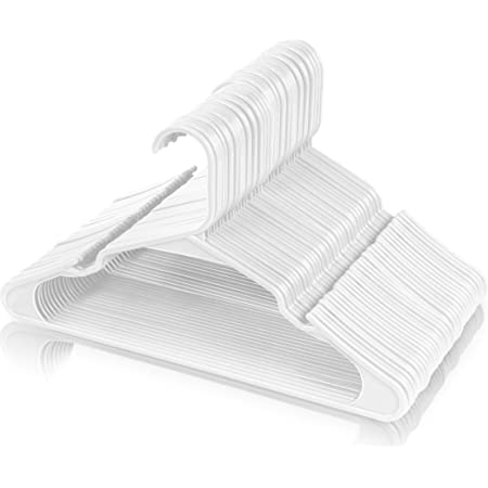 Utopia Home 50-Pack White Plastic Hangers for Clothes - Space Saving Notched Hangers - Durable and Slim - Shoulder Grooves