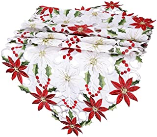 Christmas Table Runner Poinsettia Embroidered Floral Holly Leaf Pattern Tablecloth Crochet Scarves Mantel Shelf for Merry Xmas New Year Baby Shower Indoor Decorations 15.7 x 70.9 inches
