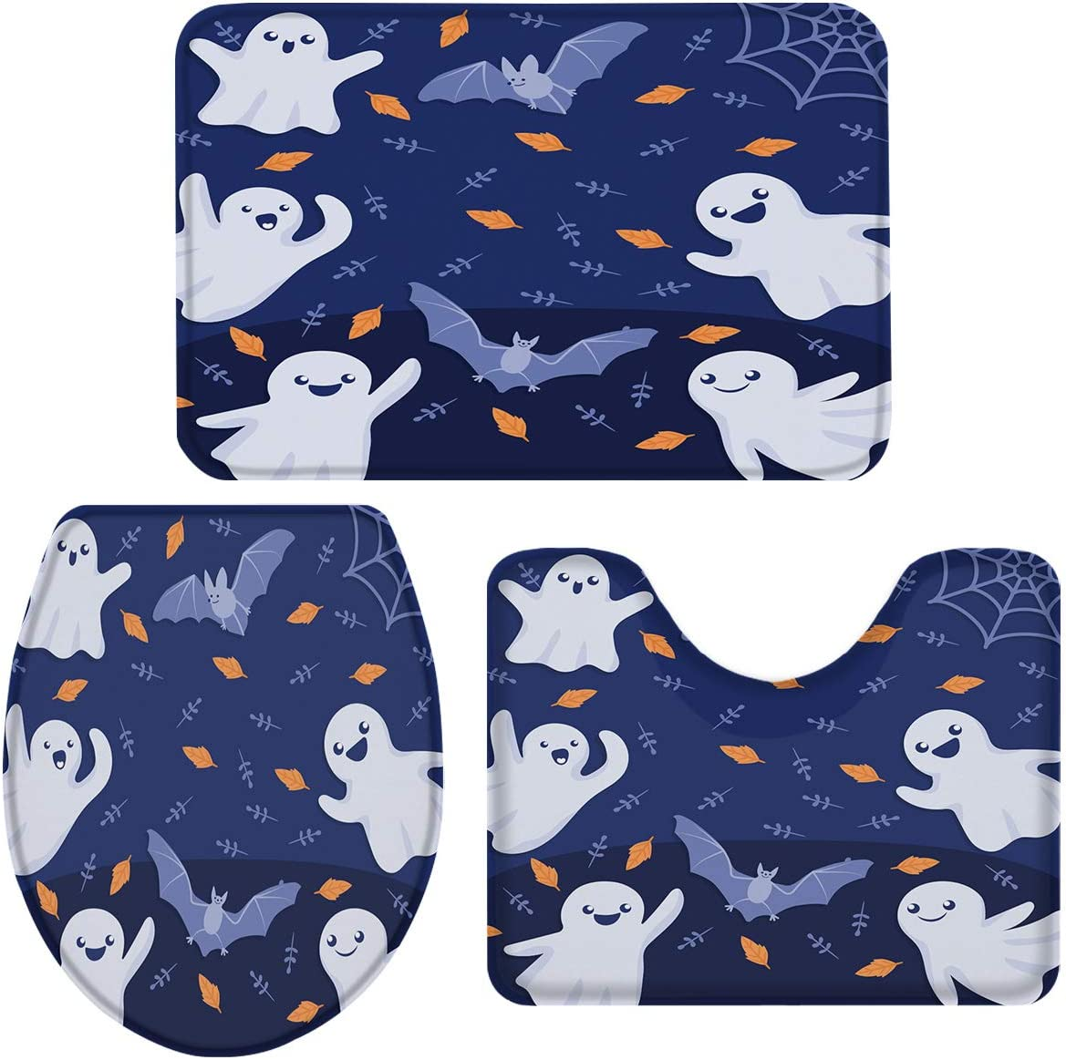 Limited time trial price Halloween 3 Piece Bath Rugs Gh Lovely 25% OFF Bat Cartoon Sets