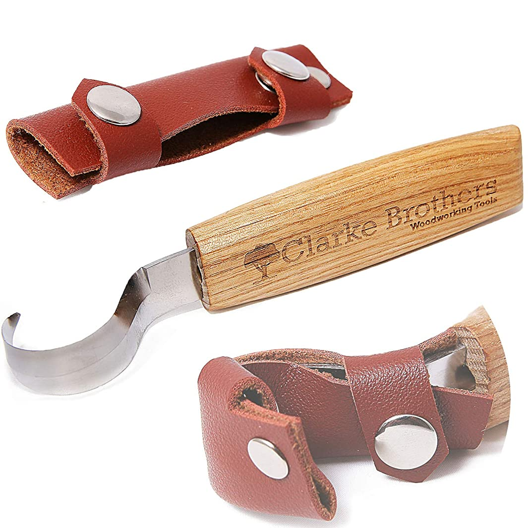 Wood Carving Hook Knife Crooked Tool Set for Carving Spoons with Leather Cover Sheath for Woodworking