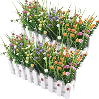 Flores artificiales Baby's Breath Gypsophila en Picket Fence Pot Pack para la decoración del banquete de boda DIY Home, juego de 2