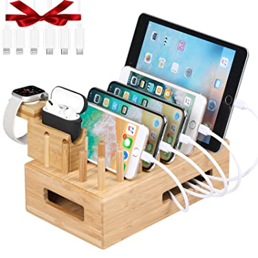 Bamboo Charging Station for Multiple Devices, Darfoo Charging Dock with iWatch & Airpods Pro Stand, Desktop Docking Station Organizer(6 Cables Included, No USB Charger)