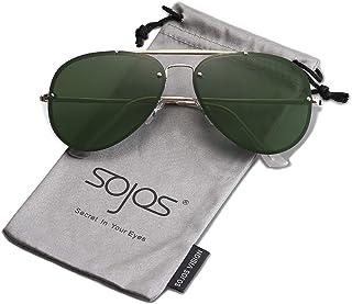 9629e8b0e2 SOJOS Rimless Aviator Sunglasses for Men and Women Metal Frame Mirrored  Lens TRENDALERT