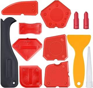 Hestya 12 Pieces Caulking Tool Kit Silicone Sealant Finishing Tool Grout Scraper Caulk Remover and Caulk Nozzle and Caulk Caps (Red)