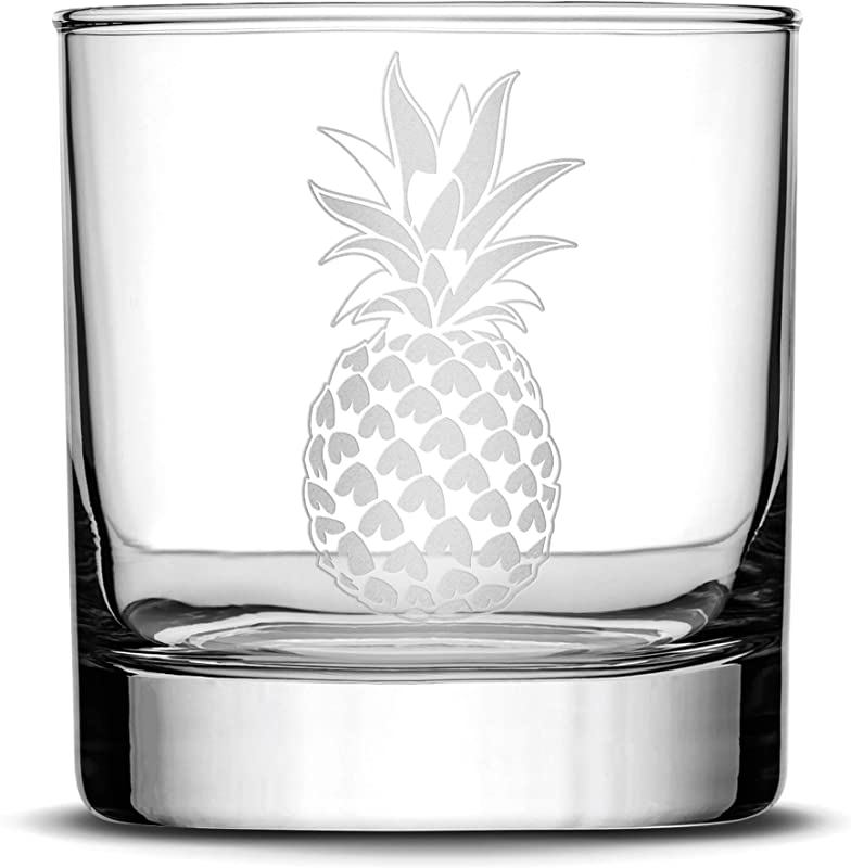 Integrity Bottles Premium Pineapple Whiskey Glass Hand Etched Design 10oz Rocks Glass Made In USA Highball Gifts Sand Carved