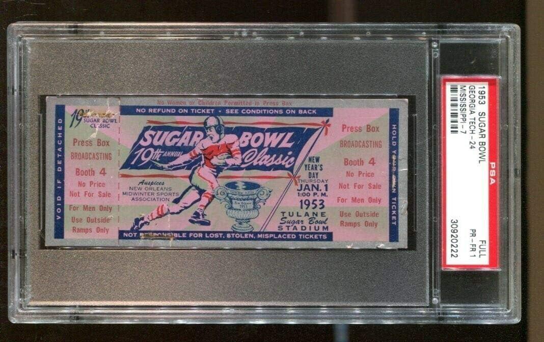 1953 Sugar Bowl Full Ticket Ole Georgia Rebels v Max 51% OFF Miss Jacke Sales for sale Tech