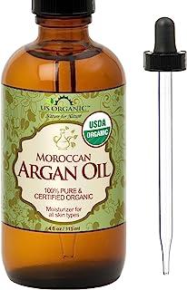 US Organic Moroccan Argan Oil, USDA Certified Organic,100% Pure & Natural, Cold Pressed Virgin, Unrefined, 4 Oz in Amber G...