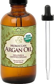 US Organic Moroccan Argan Oil, USDA Certified Organic,100% Pure & Natural, Cold Pressed Virgin, Unrefined, Origin_Morocco (4 oz (115 ml))