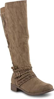 Twisted Womens Chloe Faux Leather Knee-High Wide Calf Boot