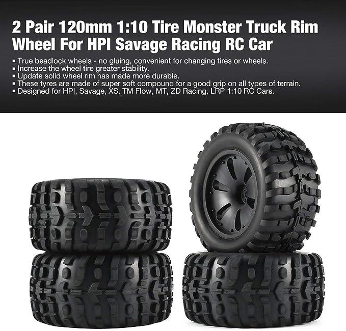 Ballylelly Rc Car Wheels 2 Paar 1 10 Rc Car Reifen Monster Truck Felge High Speed Für Hpi Savage Xs Tm Flow Mt Zd Racing Teile 120mm Montieren Spielzeug