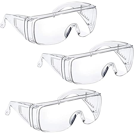 Safety Glasses Safety Goggles Over Glasses with Clear Anti-Fog Splash Proof Lenses,Eye Protection for Home Workplace Classroom Lab,FDA CE Certified Clear Blue