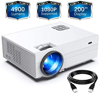 "FunLites Projector,+80% Brightness HD 4900LUX Video Projector with 200"" Display 60,000 Hrs Led Home Theater Projector, 108..."