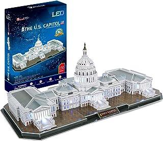 CubicFun 3D Puzzles 3D ایالات متحده کاپیتول واشنگتن LED معماری ساختمان مدل مجموعه اسباب بازی های اسباب بازی برای بزرگسالان که در شب روشن می شوند