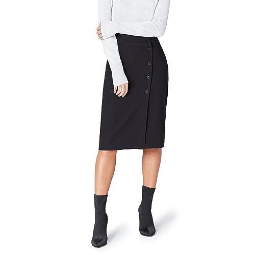 Intelligent Womens Ladies Double Split Slit Cutout High Waisted Swing Long Skater Midi Skirt Kleidung & Accessoires Kleider