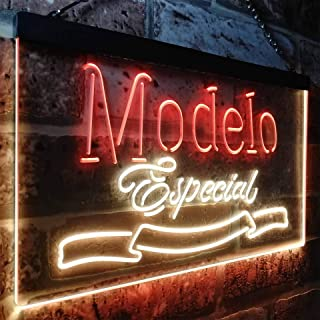 zusme Modelo Especial 1925 Beer Bar Novelty LED Neon Sign Red + Yellow W16 x H12