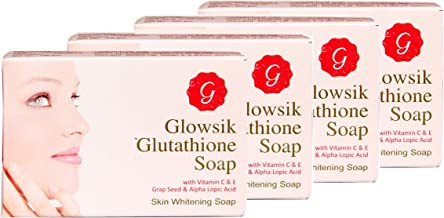 GLOWSIK GLUTATHIONE SKIN SOAP WITH VITAMIN C, GRAPE SEED (PACK OF 4)