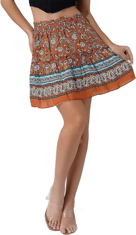 Nimiya Women's Summer Boho Skirt High Waist Floral Ruffle A-line Mini Skirt