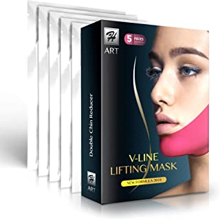 Chin Up Patch | V line | Double Chin Reducer | Face Lift | Contour Lifting Firming Moisturizing Mask All Night | Silicone V-Line Lifting Patches - 5 Strips