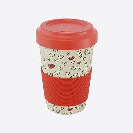 Preisvergleich für Ein 'domo pv-bam-6281Point-Virgule Reise Tasse mit Deckel und rutschfestem Band Herzen 500ml, Bambus, Fasern, rot