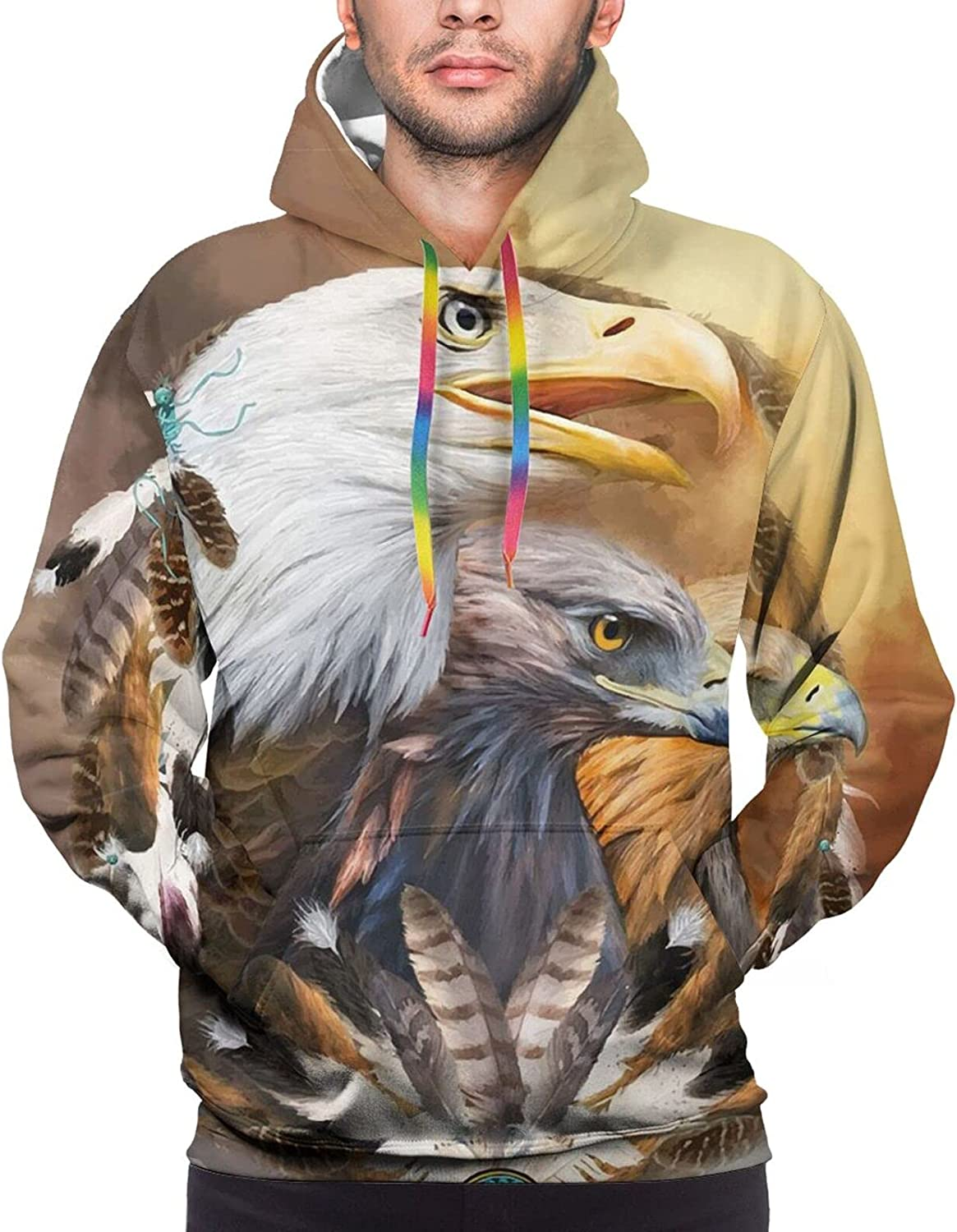 Hoodie For Teens Boys Girls Eagle Feather Dream Catch Hoodies Pullover Sweatshirt Pockets