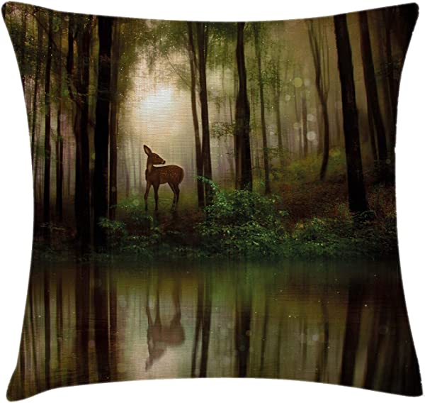 Ambesonne Nature Throw Pillow Cushion Cover Baby Deer In The Forest With Reflection On Lake Foggy Woodland Graphic Decorative Square Accent Pillow Case 18 X 18 Green Cocoa