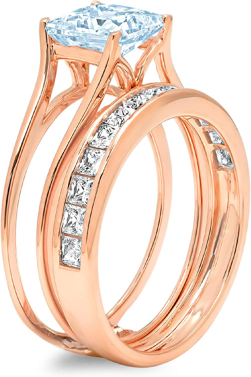 3.37ct Princess Cut Pave Solitaire with Accent Aquamarine Blue Simulated Diamond Designer Statement Classic Sliding Ring Band Set Real Solid 14k Rose Gold