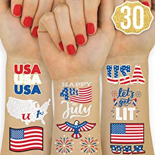 xo, Fetti Fourth of July Decorations Temporary Tattoos - 30 styles | Labor Day, America, Memorial Day, Independence Day, Red White and Blue Party Supplies, 4th of July, USA