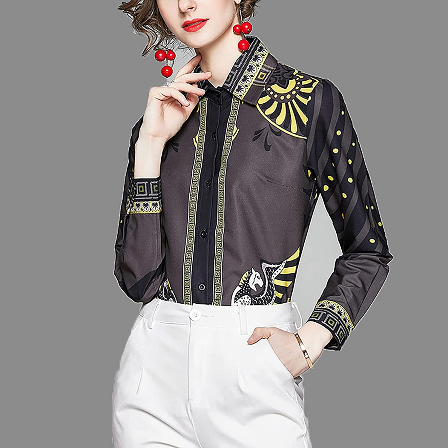 LEXUPA Cardigans/Sweaters/Pullovers/Hoodies Women Long-Sleeved Lapel Plaid Printed Cardigan Single-Breasted Bottoming Shirt