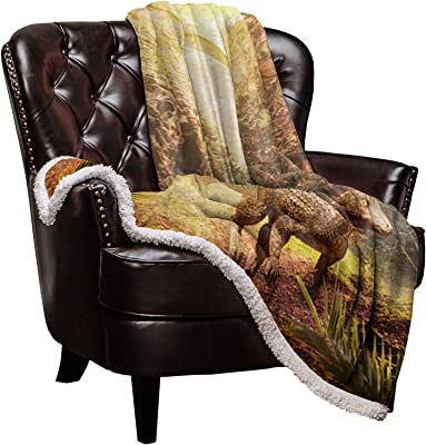 Double Love Sherpa Fleece Blanket 60''x 80'' Fuzzy and Soft Blanket for All Season Bed Sofa Outdoor Travel, Predator Dinosaurs of The Jurassic Jungle, Warm Gift for Kid, Adult, Parent