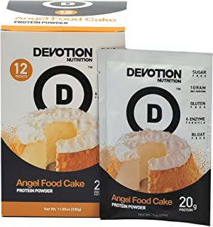 Devotion Nutrition Protein Powder, Angel Food Cake, 20 Grams Protein, 1 Gram Mct, Protein Baking Powder, Whey Protein Powder, Low Carb Protein, 12 Single Serving Packets