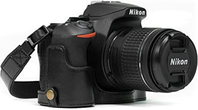 MegaGear Nikon D5600, D5500 Ever Ready Leather Camera Half Case and Strap, with Battery Access - Black - MG1170