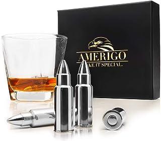 Premium Edelstahl Whisky Steine Geschenkset – Hohe Kühltechnologie - 6 Whisky Bullet - Eiswürfel Wiederverwendbar - Edelstahl Eiswürfel - Whiskey Patrone Geschenkset Männer - Edelstahl Kühlstein